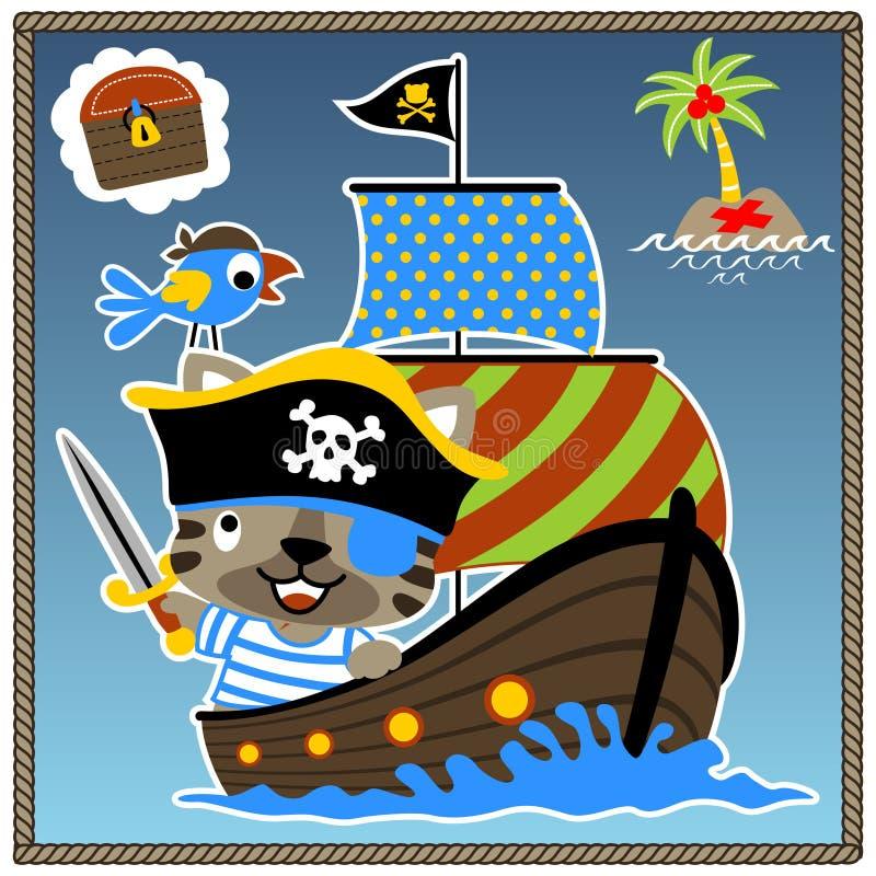 Vetor engraçado dos desenhos animados do pirata ilustração royalty free