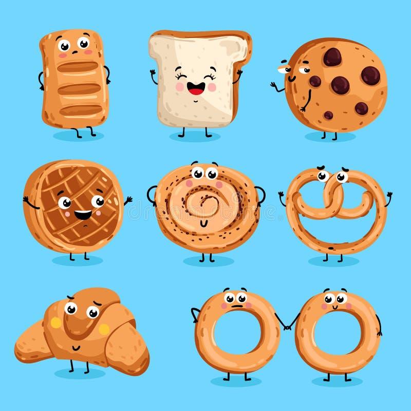 Vetor engraçado dos desenhos animados dos caráteres da padaria ilustração royalty free