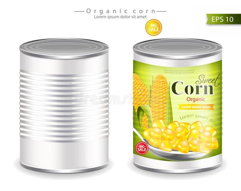 Vetor enlatado metálico do milho realístico Colocação do produto Molde do projeto da etiqueta ilustrações 3D ilustração royalty free