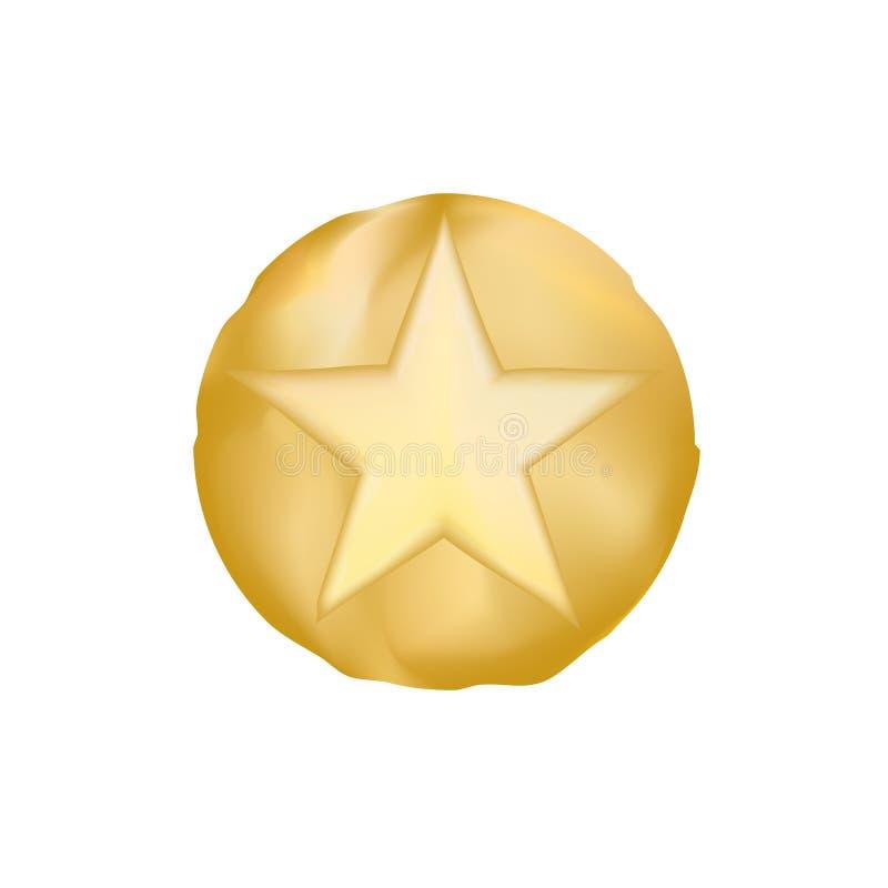 Vetor eps10 da estrela do xerife do OURO estrela do estilo antigo de texas Xerife dourado Star do vetor sobre o fundo branco ilustração do vetor