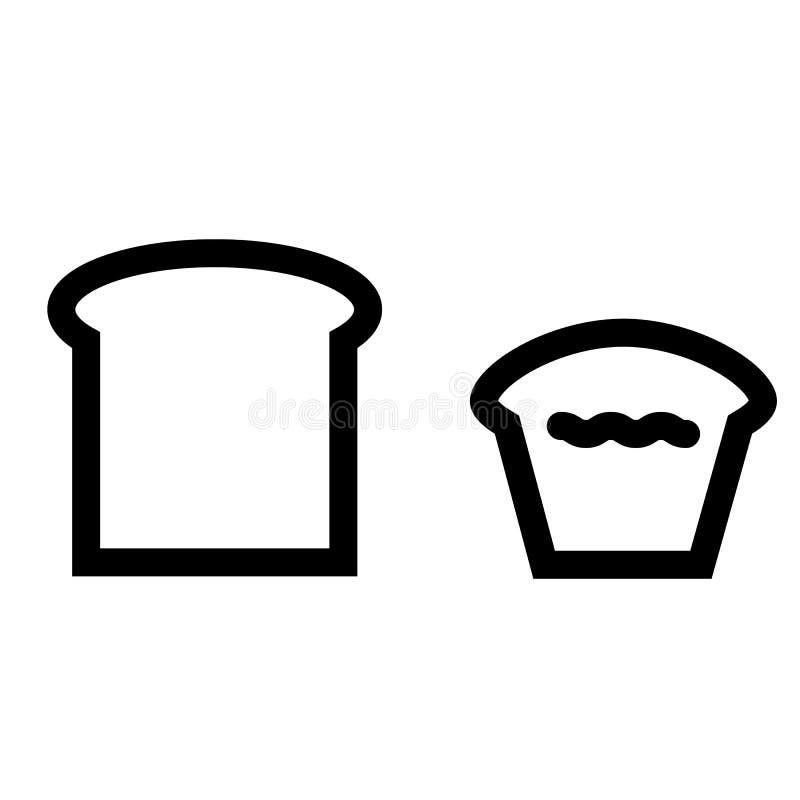Vetor eps10 do ícone do esboço do pão Ícone produzida e do bolo Ícone do bolo e do queque ícone dos produtos da padaria ilustração do vetor