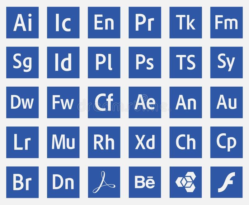 Vetor eps10 dos ícones do adôbe dos programas dos logotipos ilustração stock