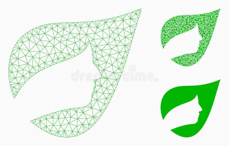 Vetor erval natural Mesh Carcass Model dos cosméticos e ícone do mosaico do triângulo ilustração royalty free