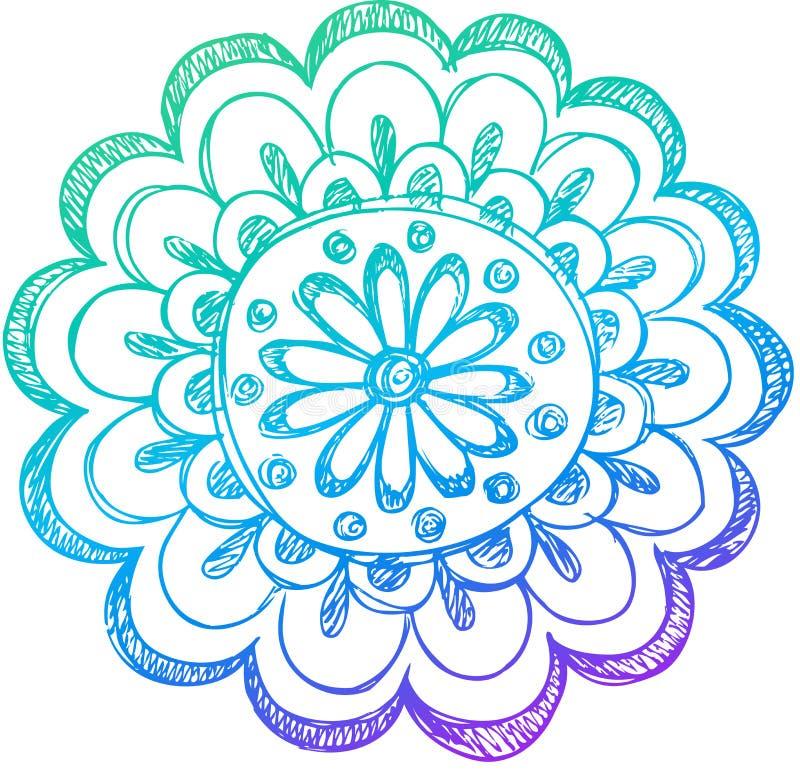 Vetor esboçado da flor do Henna do Doodle ilustração stock