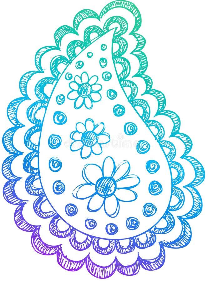 Vetor esboçado de Paisley do Henna do Doodle ilustração royalty free