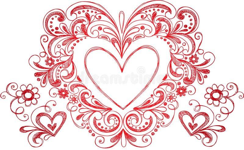 Vetor esboçado do coração do Doodle ilustração do vetor