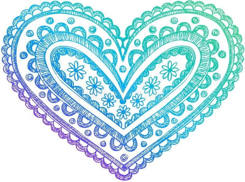 Vetor esboçado do coração do Henna do Doodle ilustração stock