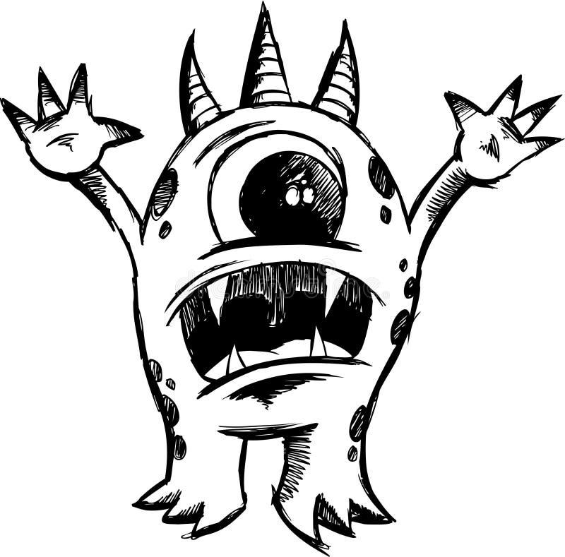 Vetor esboçado do diabo do monstro ilustração stock