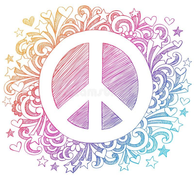 Vetor esboçado do Doodle do sinal de paz ilustração stock