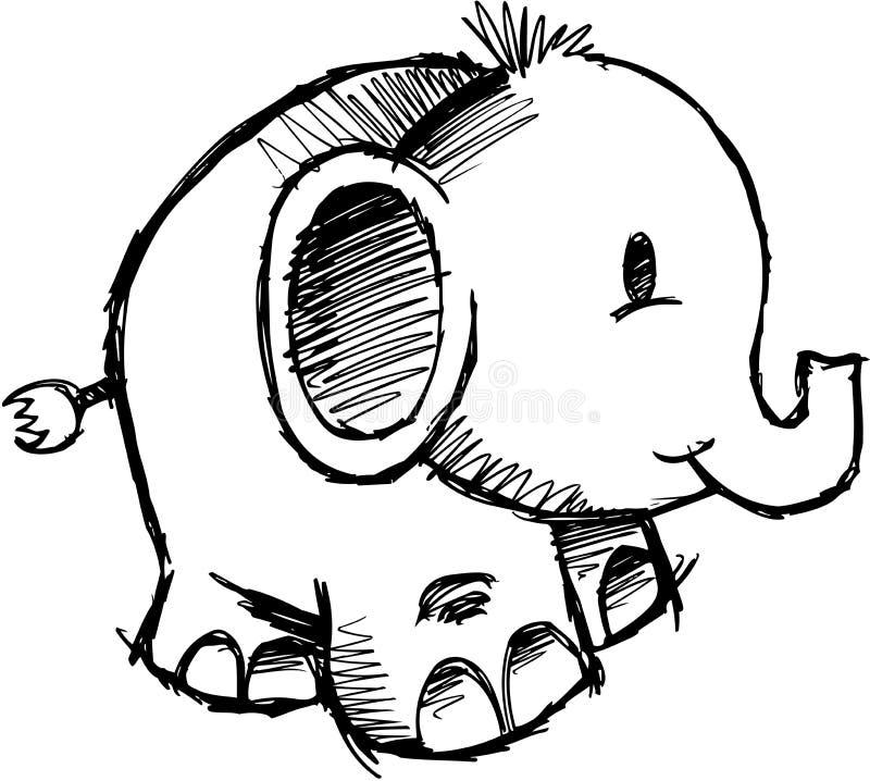 Vetor esboçado do elefante ilustração stock