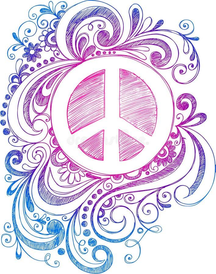Vetor esboçado do sinal de paz do Doodle ilustração royalty free