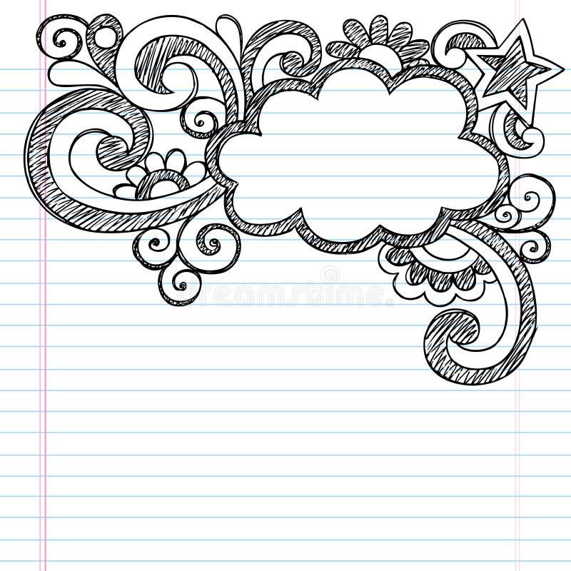 Vetor esboçado Illustrat da garatuja da beira do quadro da nuvem ilustração do vetor