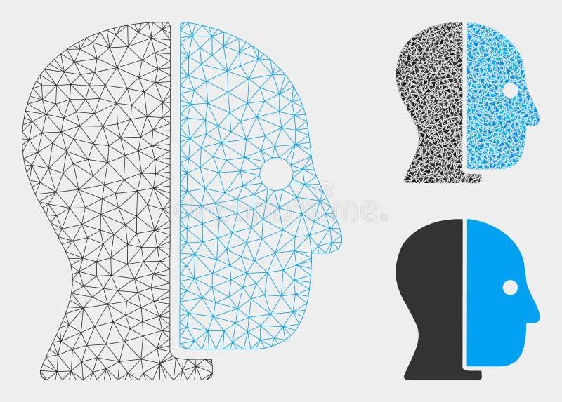 Vetor escondido Mesh Network Model do perfil e ícone do mosaico do triângulo ilustração stock