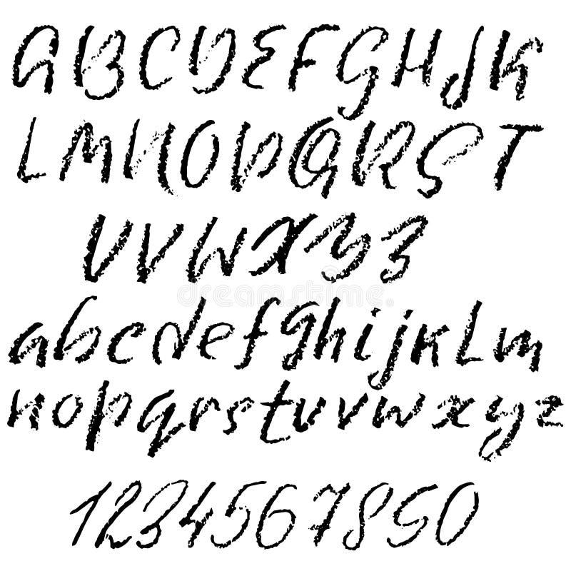 Vetor escrito à mão fonte riscada Textura de imitação do giz Mão moderna alfabeto tirado Letras isoladas ilustração royalty free