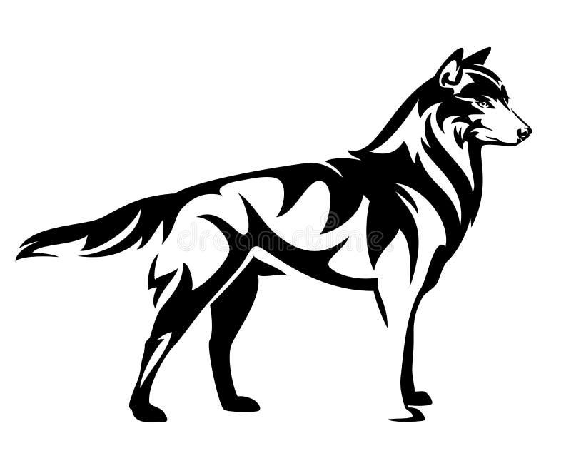 Vetor estando do esboço do preto do lobo ilustração royalty free