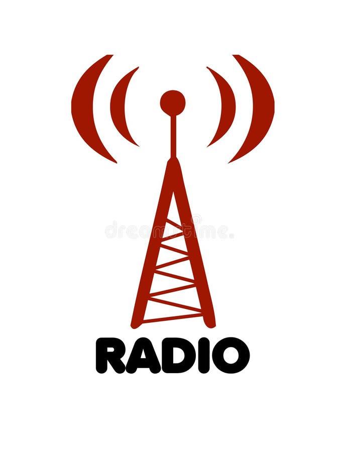 Vetor estilizado do logotipo da antena de rádio ilustração royalty free