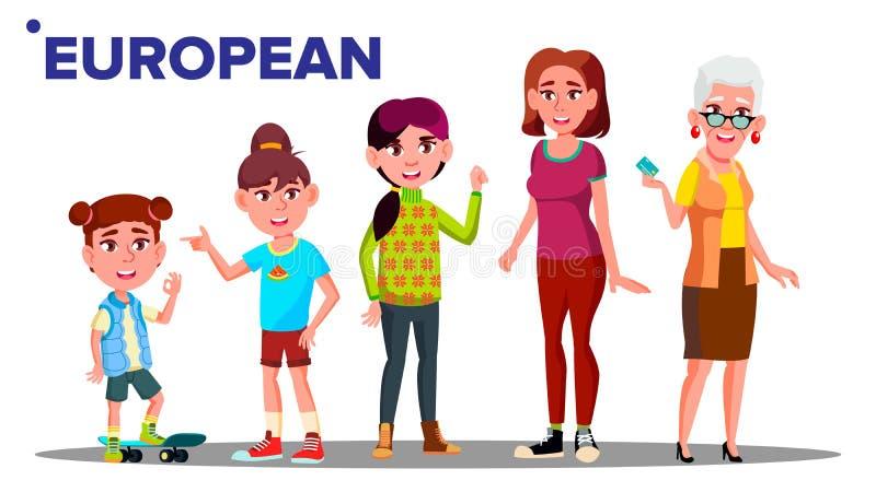 Vetor fêmea da pessoa dos povos do grupo da geração europeia Mãe, filha, neta, bebê Ilustração isolada ilustração do vetor