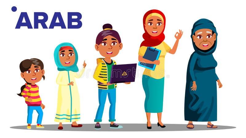 Vetor fêmea da pessoa dos povos da geração árabe, muçulmana Mãe, filha, neta, bebê, adolescente Vetor Isolado ilustração stock