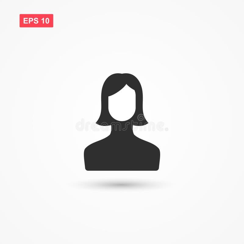 Vetor fêmea 2 do ícone da conta de utilizador ilustração royalty free