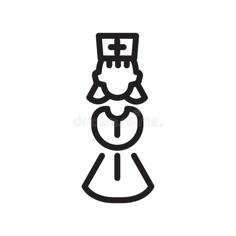 Vetor fêmea do ícone do doutor isolado no fundo branco, no sinal fêmea do doutor, na linha símbolo ou no projeto linear do elemen ilustração do vetor