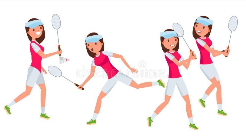 Vetor fêmea do jogador do badminton Jogo em poses diferentes Mulher Personagem de banda desenhada de Isolated On White do atleta ilustração royalty free