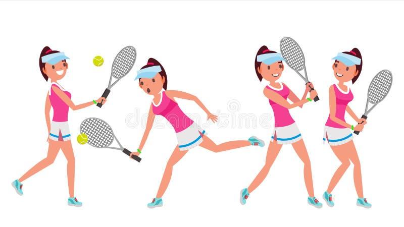 Vetor fêmea do jogador de tênis Atleta grande do esporte do tênis da mulher Poses diferentes Ilustração do personagem de banda de ilustração stock