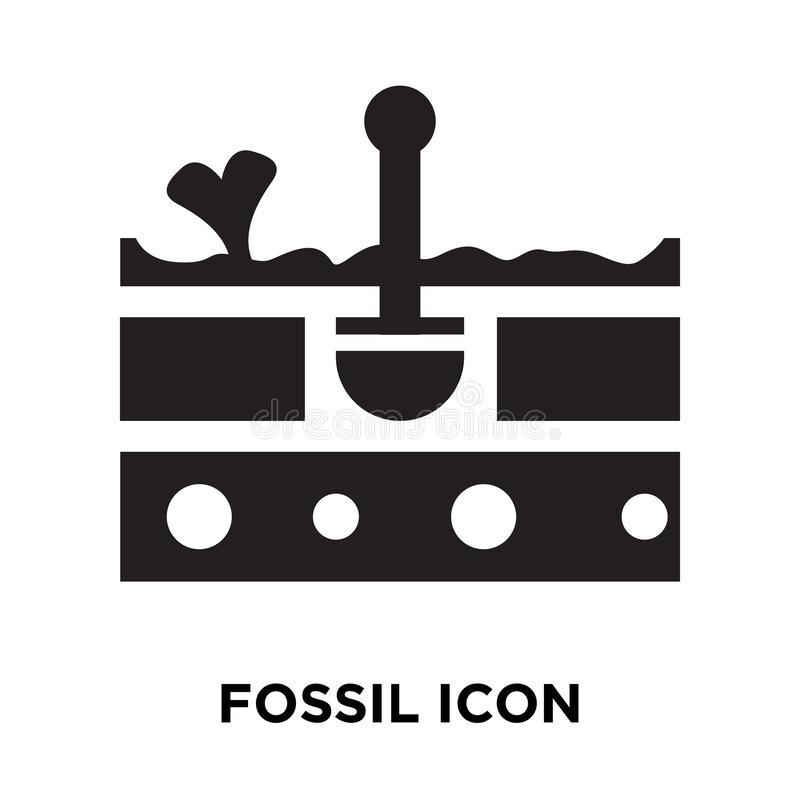Vetor fóssil do ícone isolado no fundo branco, conceito do logotipo de ilustração do vetor