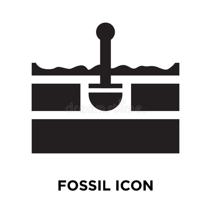 Vetor fóssil do ícone isolado no fundo branco, conceito do logotipo de ilustração royalty free