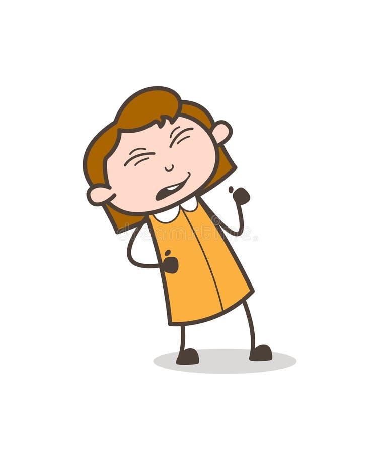 Vetor fazendo caretas da expressão da menina engraçada ilustração royalty free
