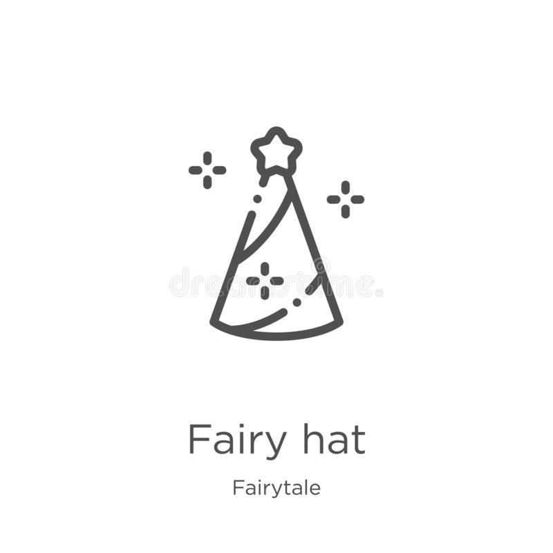 vetor feericamente do ícone do chapéu da coleção do conto de fadas Linha fina ilustração feericamente do vetor do ícone do esboço ilustração do vetor