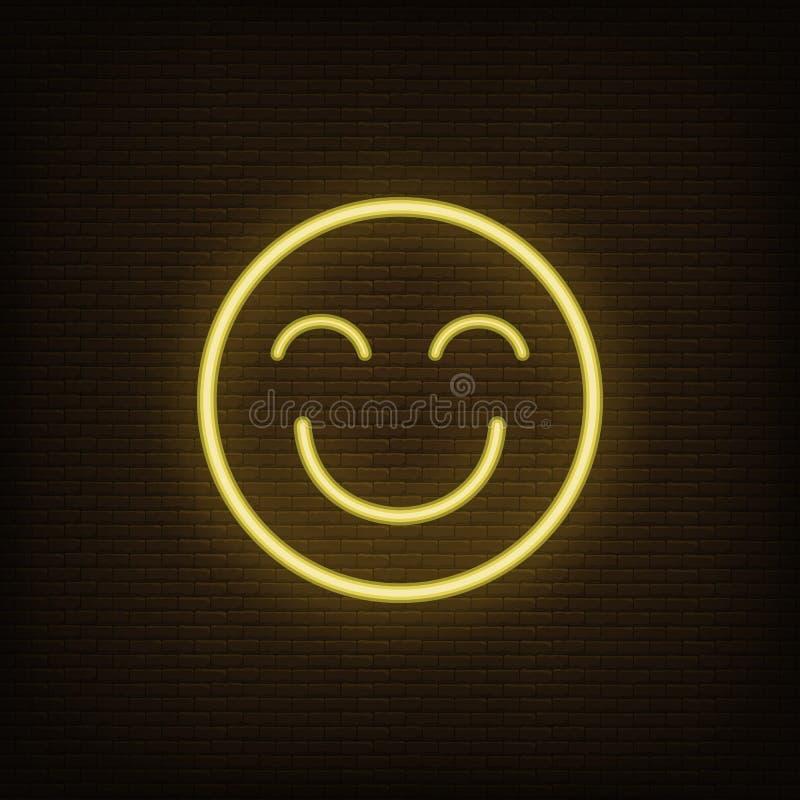 Vetor feliz amarelo de néon do ícone de Emoji ilustração royalty free
