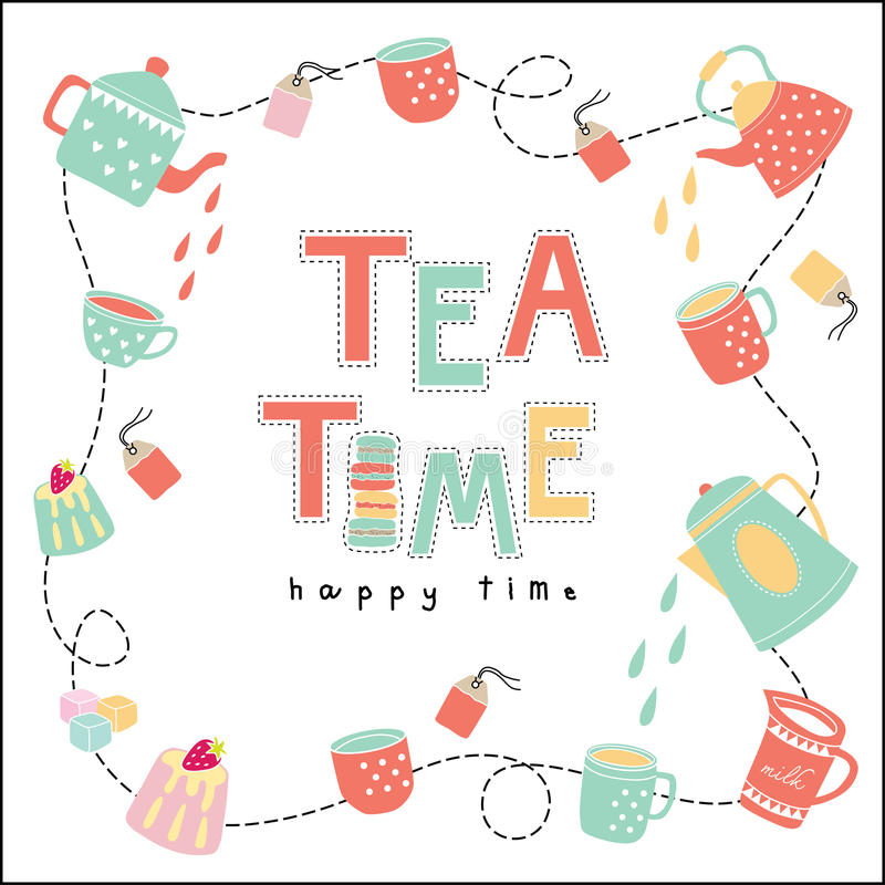 Vetor feliz da cor pastel da ilustração da garatuja do tempo do tempo do chá ilustração royalty free