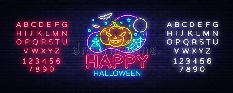 Vetor feliz do molde do projeto do partido de Dia das Bruxas Cartão de Dia das Bruxas, bandeira clara, estilo de néon, noite bril ilustração do vetor