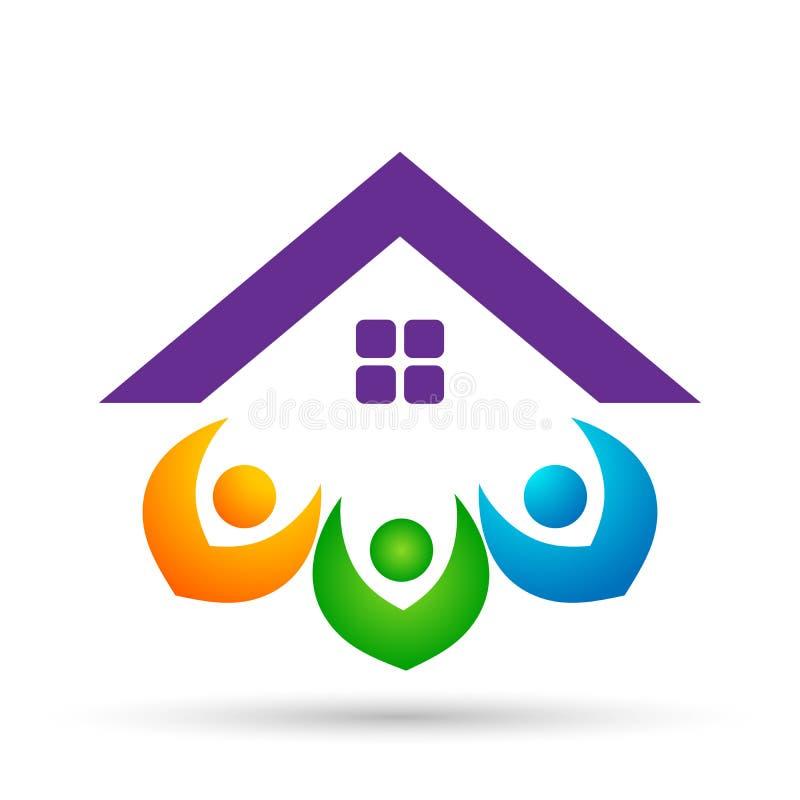 Vetor feliz do projeto do ícone do telhado da união da família abstrata da casa dos bens imobiliários e do elemento do vetor do l ilustração royalty free