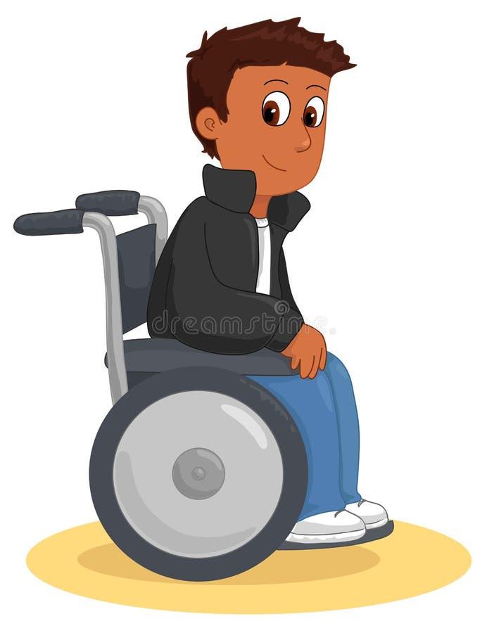 Vetor feliz fresco do menino da cadeira de rodas ilustração stock