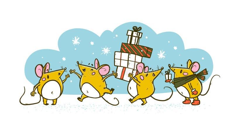 Vetor Feliz Natal desenhou personagem engraçada de rato na caminhada do cachecol, feliz onda salta, carregue pilha de presentes e ilustração royalty free