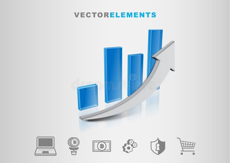 Vetor financeiro Infographic do gráfico 3D da tecnologia com grupo de Ico ilustração do vetor