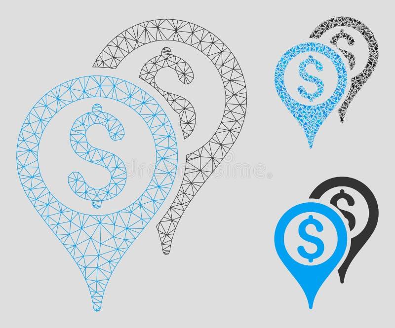 Vetor financeiro Mesh Network Model dos ponteiros do mapa e ícone do mosaico do triângulo ilustração do vetor
