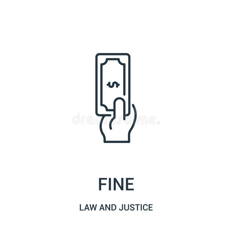 vetor fino do ícone da coleção da lei e da justiça Linha fina ilustração fina do vetor do ícone do esboço Símbolo linear para o u ilustração do vetor