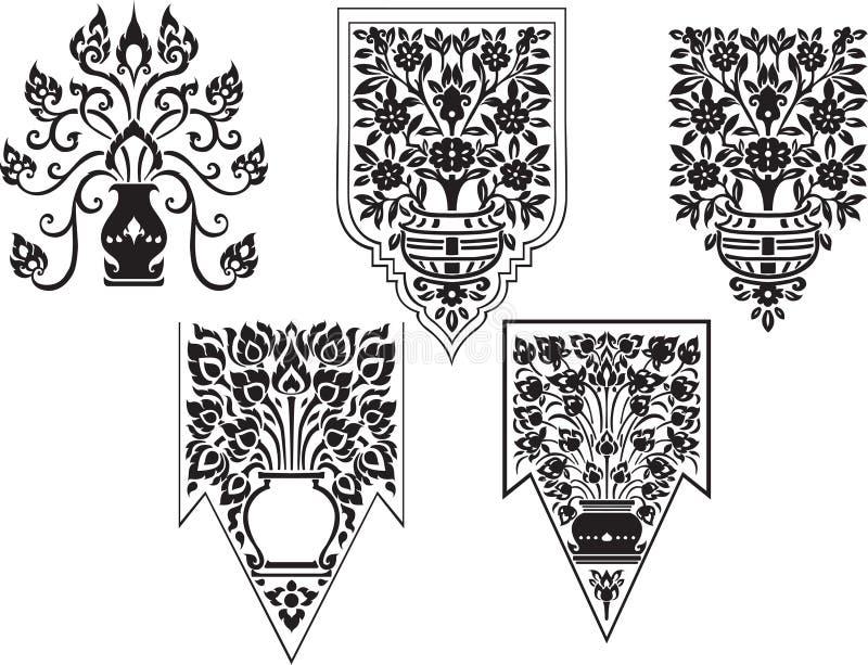 Vetor fino tailandês de Art Flowers ajustado [EPS10] ilustração stock