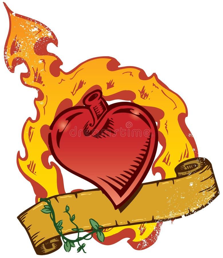 Vetor flamejante do estilo do tatuagem do coração com bandeira ilustração stock