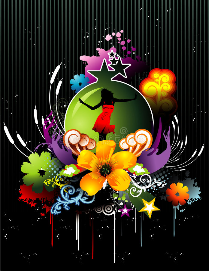 Vetor floral da menina ilustração stock