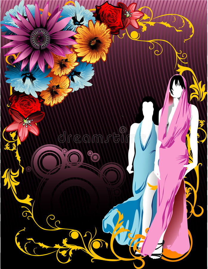Vetor floral da menina ilustração royalty free