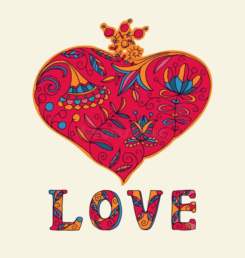 Vetor floral do coração do amor do dia de Valentim ilustração stock