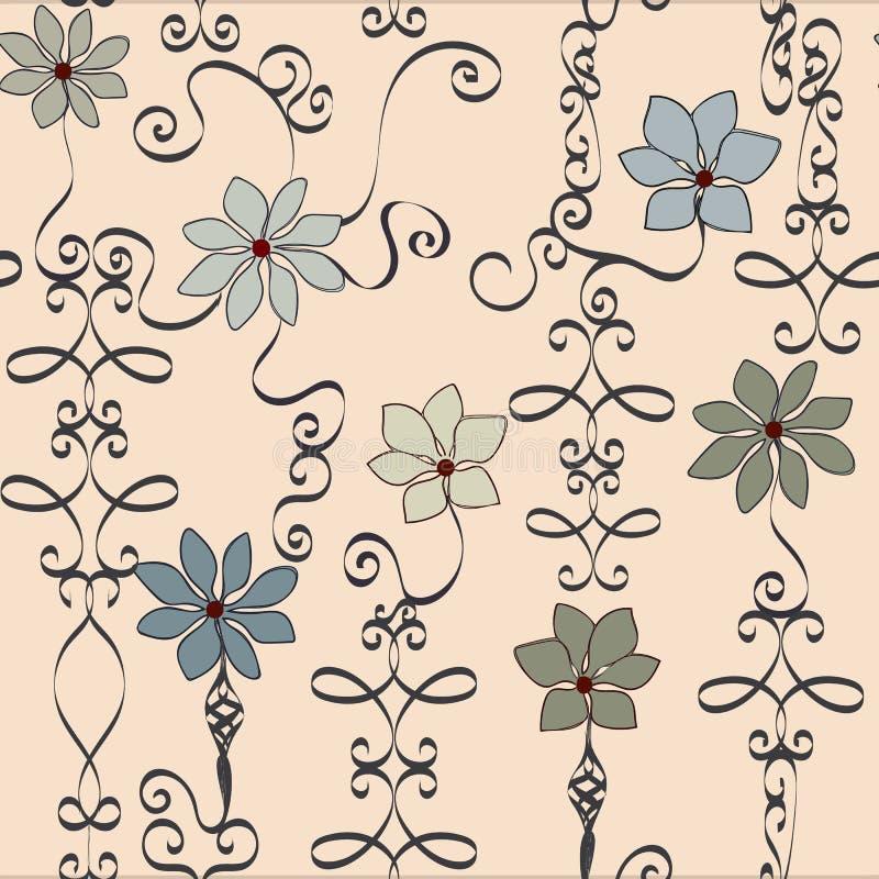Vetor floral do divertimento e do teste padrão do ferro forjado neutro fantástico ilustração royalty free