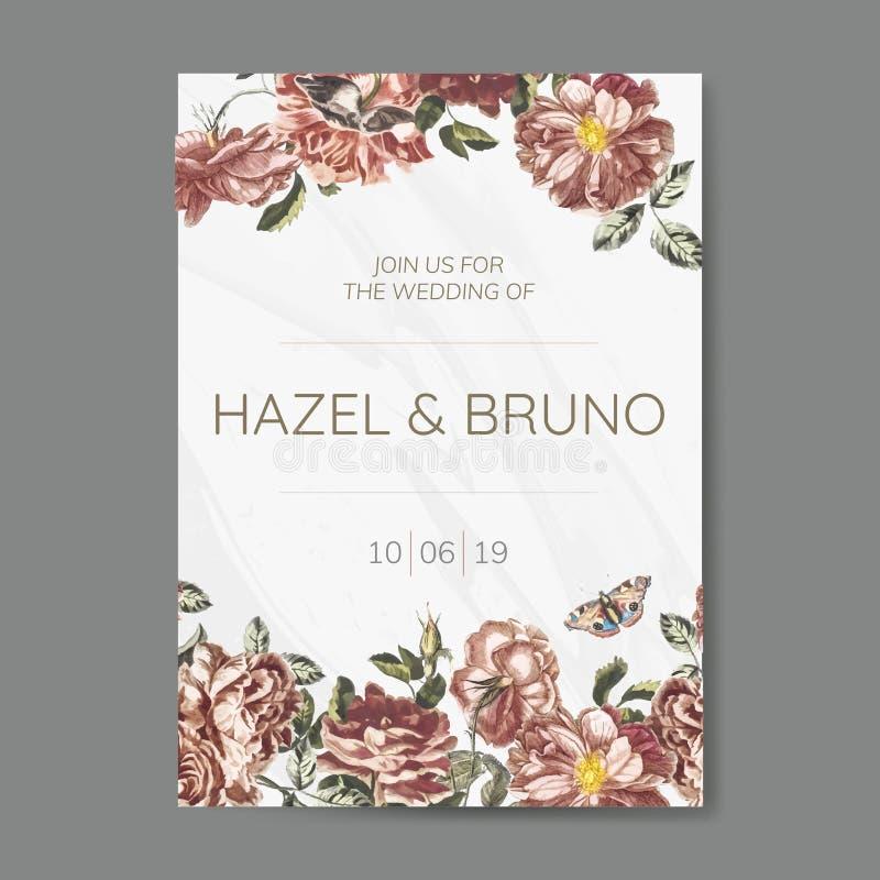 Vetor floral do modelo do convite do casamento ilustração do vetor