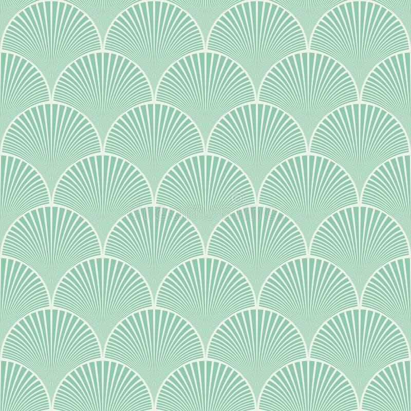 Vetor floral do teste padrão de ondas do art deco japonês sem emenda de turquesa ilustração do vetor