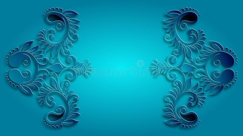 Vetor floral do teste padrão do vintage original azul ilustração royalty free
