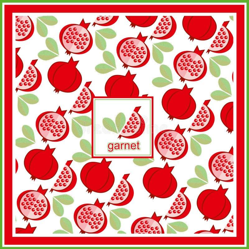 Vetor fresco vermelho Orn da vitamina do alimento do projeto da arte do teste padrão da romã imagens de stock royalty free
