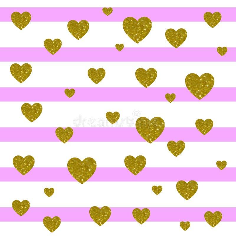 Vetor Fundo do cartão Listras cor-de-rosa e brancas da luz - e corações dourados ilustração stock